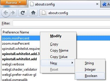 firefox aurora new:config
