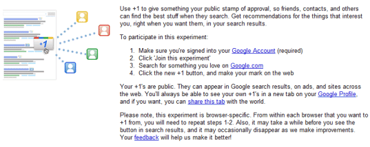 google +1 experiment pre requisites iamge Google +1 Button Release: Weeks Away! But Experiment It Now!