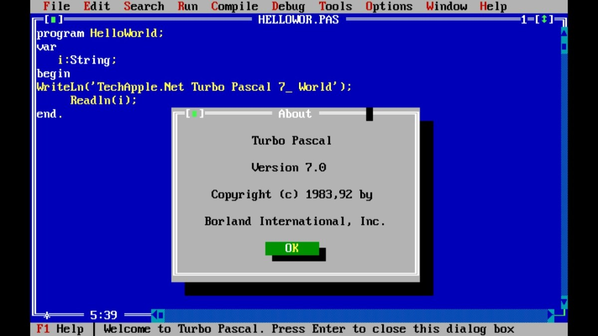 Turbo Pascal 7 for Windows 7 /8.1 & Windows 10 [32bit-64bit] FullScreen Single Installer