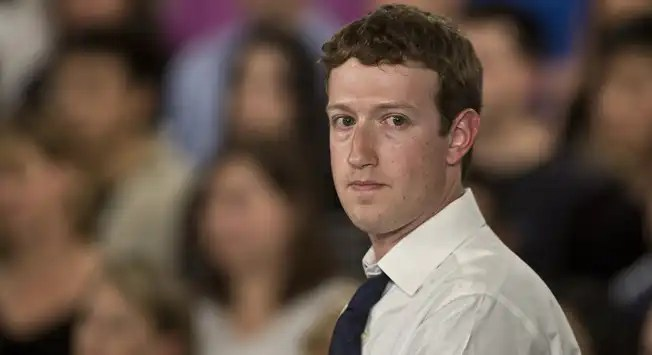 "Facebook CEO Mark Zuckerberg  participates in an online ""town hall""  at Facebook headquarters in Palo Alto, California"