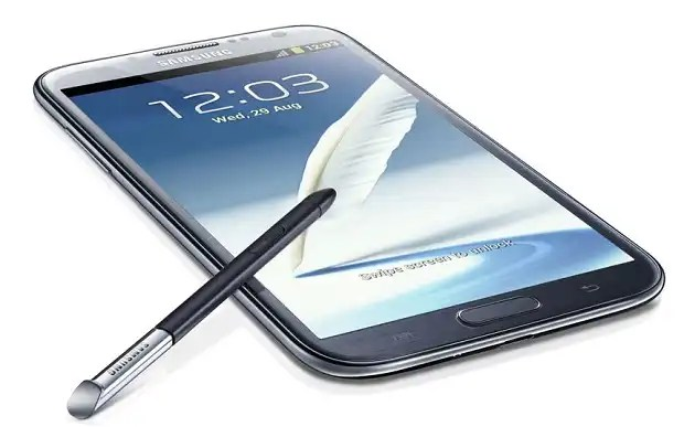 Samsung Galaxy Note II with stylus
