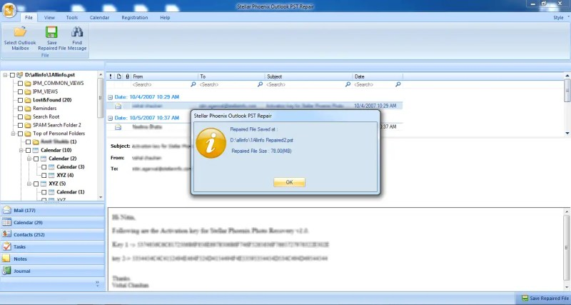 Stellar Phoenix Outlook PST Repair File Saving Successful