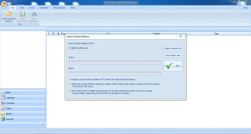 Stellar Phoenix Outlook PST Repair tool scanning for files