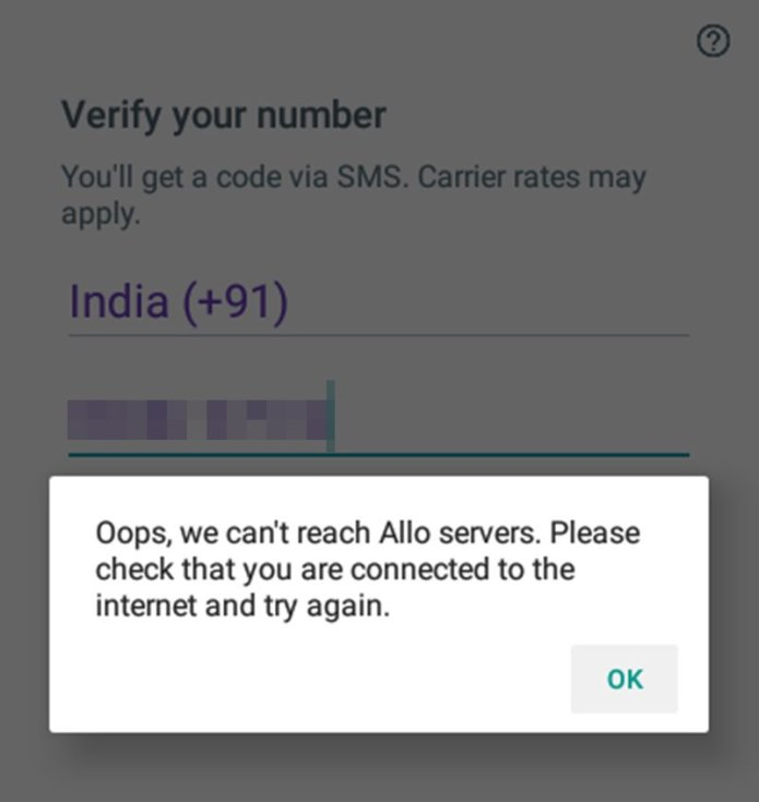 fix Oops, we can't reach Allo servers