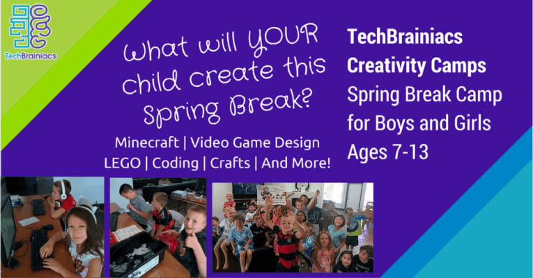 TechBrainiacs Building STEAM Spring Break Camp Header