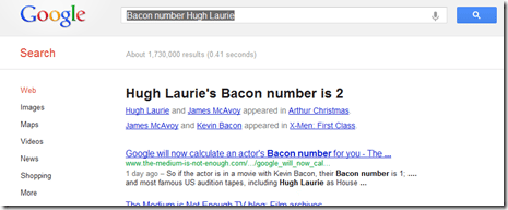Check degrees of Bacon separation with Google?