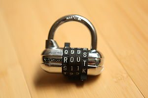 """A Master padlock with """"r00t"""" as pass..."""
