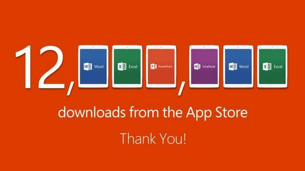 12 million downloads of Office