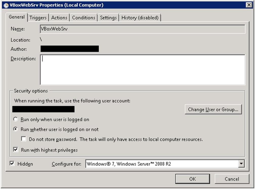 VBoxWebSrv properties window