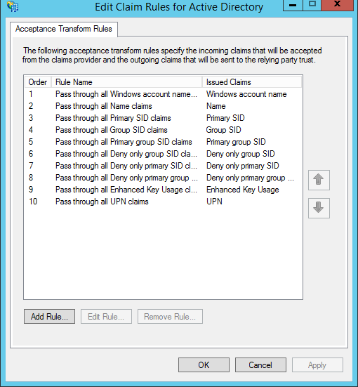 Claim Rules for Active Directory