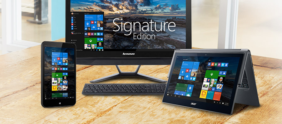 Signature Edition devices run clean versions of Windows