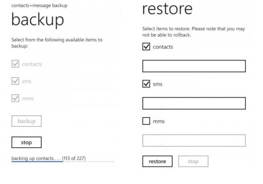 How to backup and restore contacts and sms from Windows phone to SD card