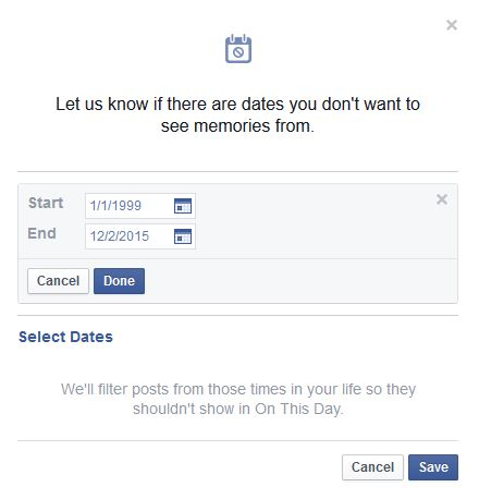 Select dates to stop on this day in facebook