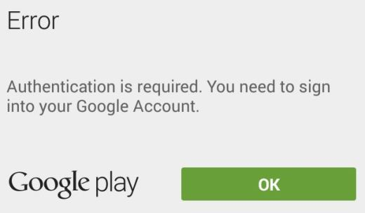 how to fix or solve authentication required error in google play store