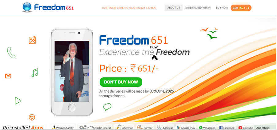 Forget Freedom 251, Here Comes Freedom 651, Promises to Deliver Rs 651 Smartphones in 10 Years via Drones