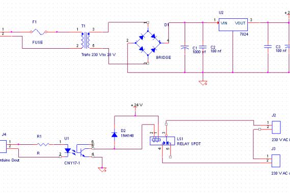 diagram med optokopler styret relæ
