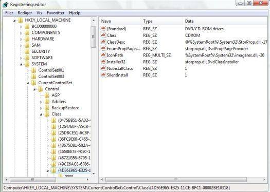 dvd virker ikke i windows vista efter automatisk microsoft opdatering fikses i registrerings databasen