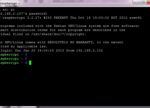 putty-SSH-rasperry-pi-login