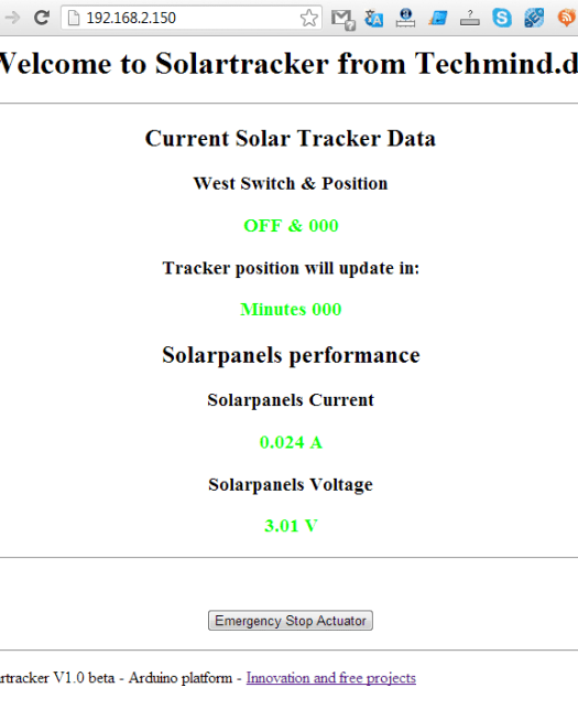 solartracker arduino beta  website