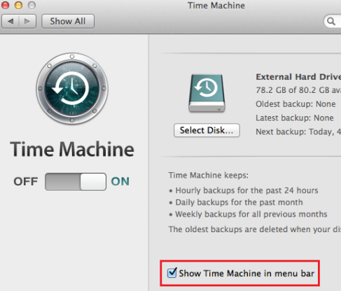 time machine backup now