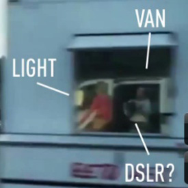 Photo labeling the presence of lighting equipment, a van and a DSLR taking the video of the girl riding the bike