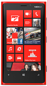 The Lumia 920 front image