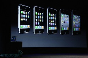 The iPhones from the first to the 6th generation