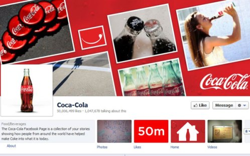 Coca-Cola reached 50 million likes on Facebook