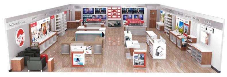Artist's rendering of the new Circuit City sales floor.