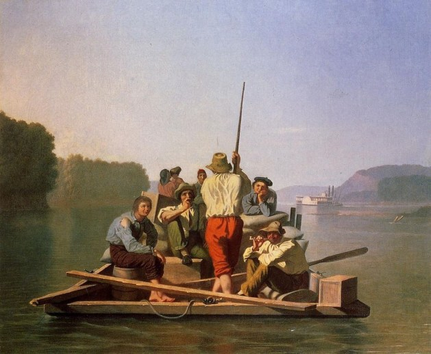 George Caleb Bingham - Lighter Relieving The Steamboat Aground - 1846-47