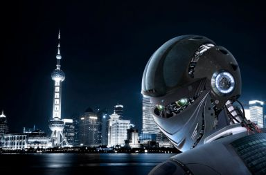46115463 - robot stylish on shanghai city background