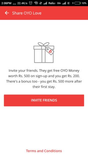 oyo invite friends code