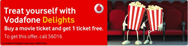 buy one get one movie ticket free on Vodafone