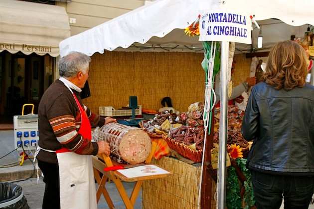 Salami stall in Arezzo