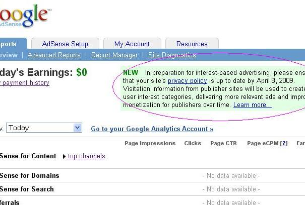 Adsense-policy-interest-Based-ads