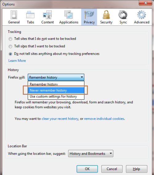 Firefox Never remember history