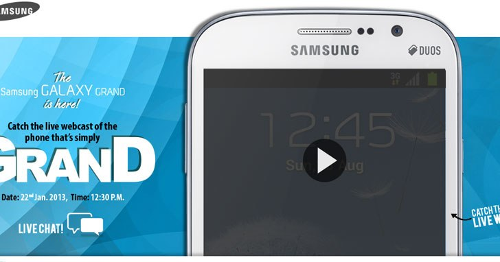 Samsung Galaxy Grand launches today in India, watch the live webcast