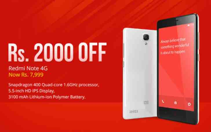 Xiaomi drops the price of Redmi Note 4G by Rs 2000; now available at Rs 7,999