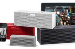 Big Jambox wireless speaker, in black, red, and silver
