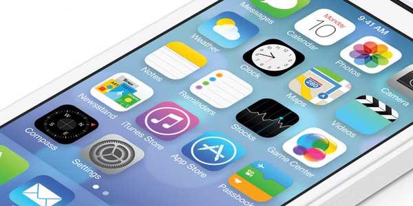 Apple iOS7 screenshot, closeup