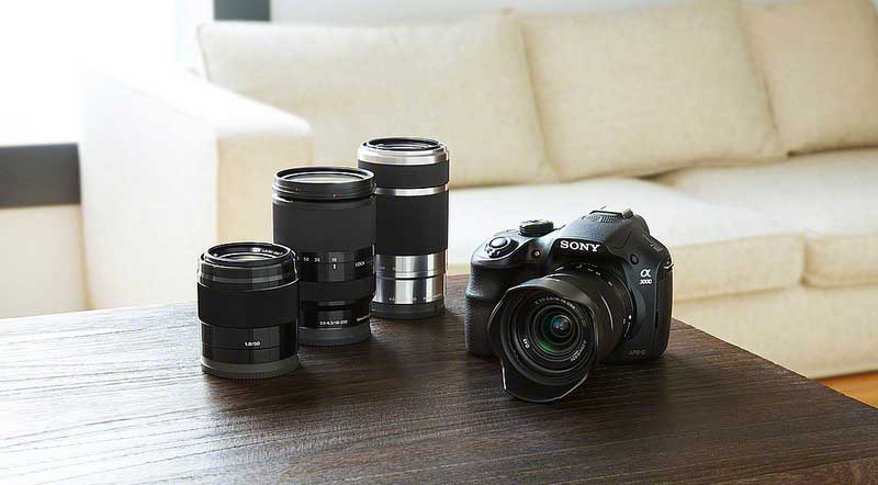 Sony ILCE-3000 mirrorless interchangeable lens camera and lenses