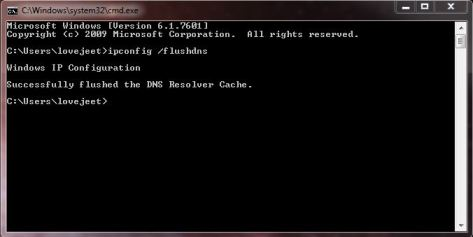 command prompt flushdns