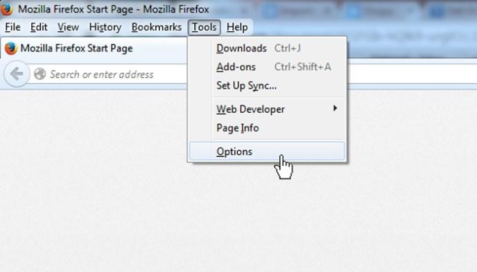 firefox options setup proxy server