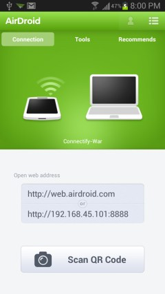 airdroid app screenshoot Transfer Files Between a PC and Android Phone using WiFi