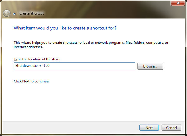 type in command to create shudown shortcut for windows Create Desktop Shortcuts to Shutdown, Lock or Restart Windows 7