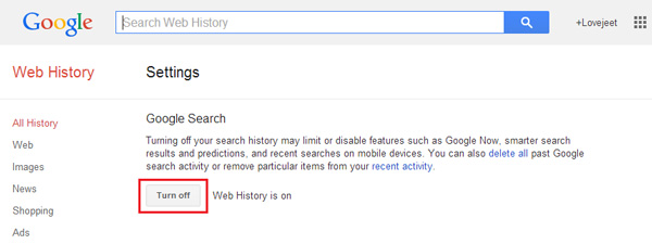 How to delete your google search history and turn it off