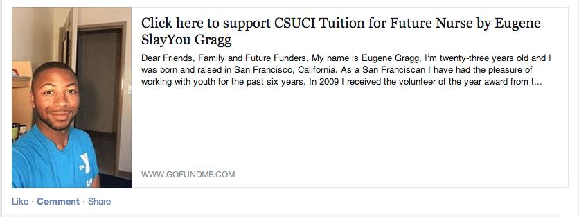 GoFundMe Campaign for CSUCI Tuition for Future Nurse Eugene Gragg