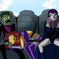 Starfire is providing Brute Fellow a suck off while Raven glimpses over from reading a book