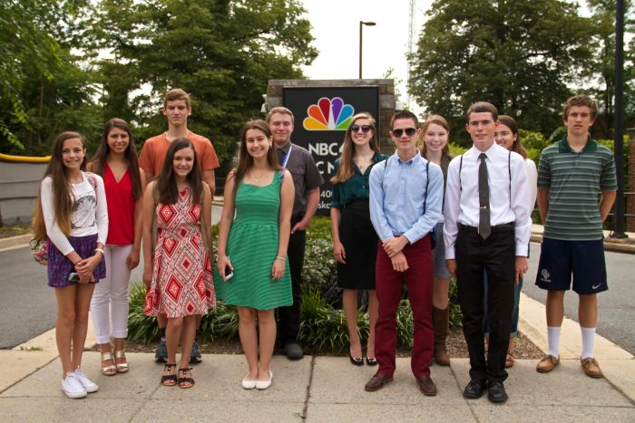 Students visited the NBC affiliate in Washington in 2015, where they met the director in the control booth, watched a live newscast and talked to a meteorologist about how she prepares different weather segments for each broadcast. Photo by Logan Combest-Friedman