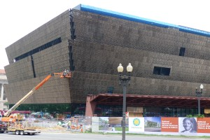The National Museum of African American History and Culture under construction at 14th Street and Constitution Avenue on the National Mall.